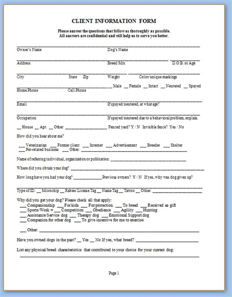 Service Agreement Template Word sarah s dog trng svc forms