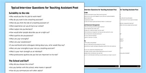 teaching assistant questions questions