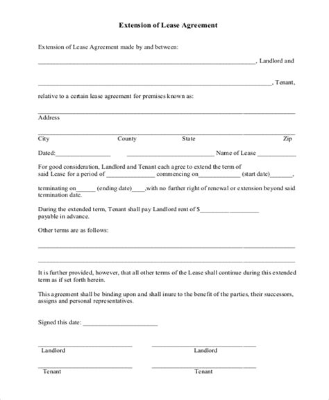 Lease Extension Agreement Letter lease extension forms 8 free documents in pdf