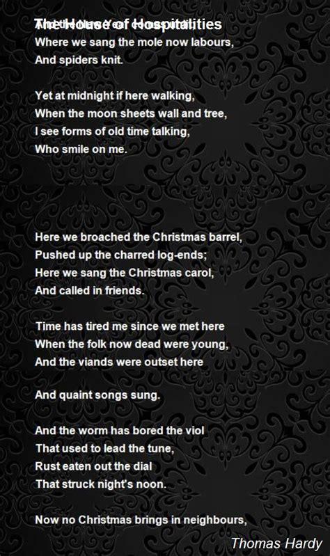 house  hospitalities poem  thomas hardy poem hunter