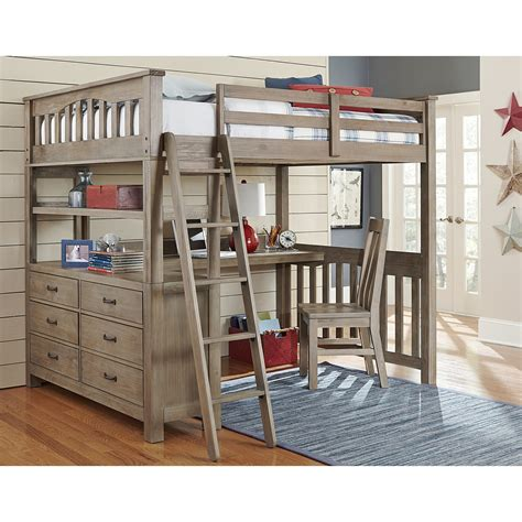 bunk bed with desk ne kids highlands full loft bed with desk in driftwood