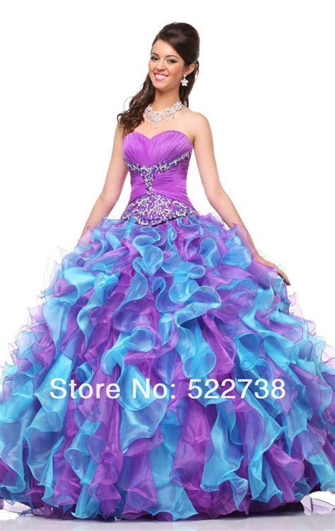 Dress Sweet Two Color Mix Import Premium Quality vestido de 15 a 241 os color lila y celeste quinceanera