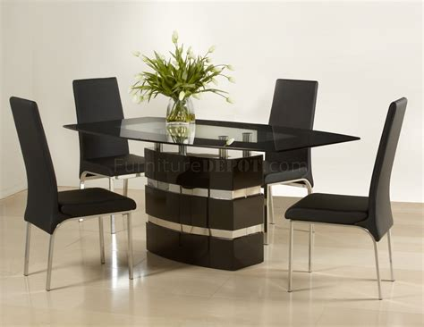 Contemporary Dining Table Chairs Black High Gloss Finish Modern Dining Table W Optional Chairs