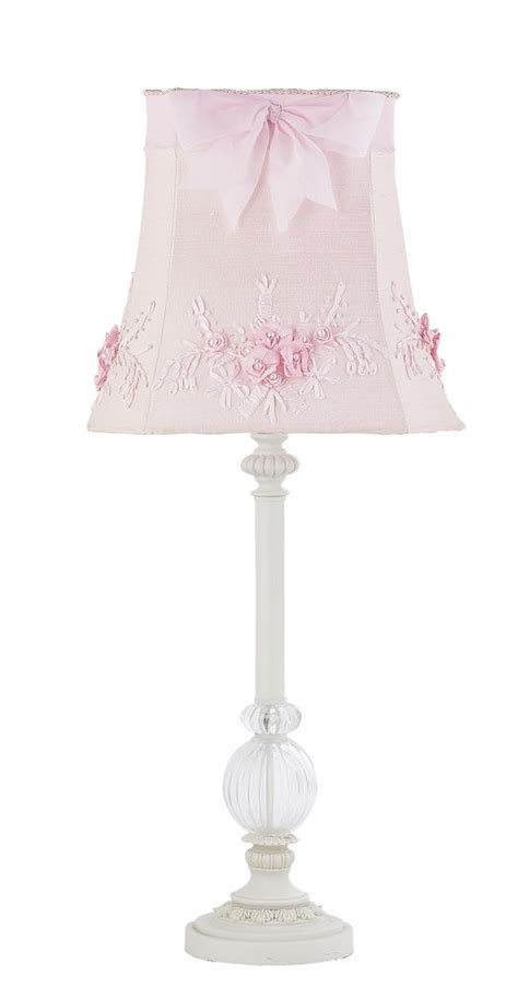 Kids Girls White Table L Glass Pink Shade Nursery Bedroom Light Shade