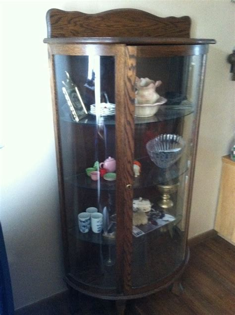 3 Pane Curved Glass Dark Wood 3 Shelves 50 Yrs Old Cannot Find A Label On I    My Antique