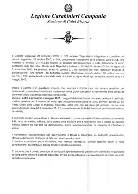 certificato di salute psicofisica per i detentori di armi