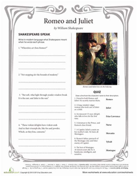 Themes Of Romeo And Juliet Worksheet | romeo and juliet worksheet education com