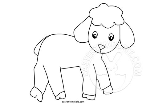 lamb coloring page easter template