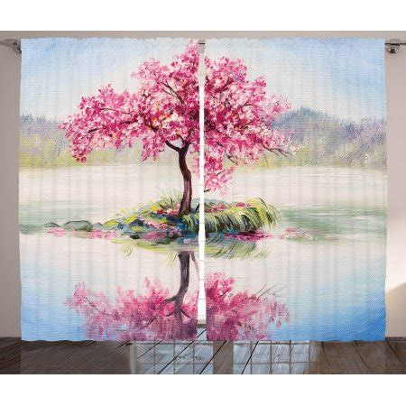 japanese decor curtains 2 panels set cherry blossom home country decor curtains 2 panels set image of blooming