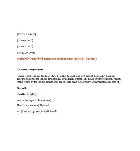 authorization letter format for tender opening 46 authorization letter sles templates template lab