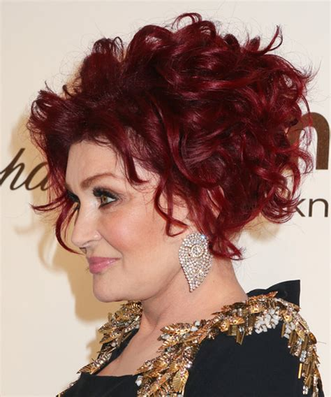 back view of sharob osbournes hair sharon osbourne updo medium curly formal wedding updo