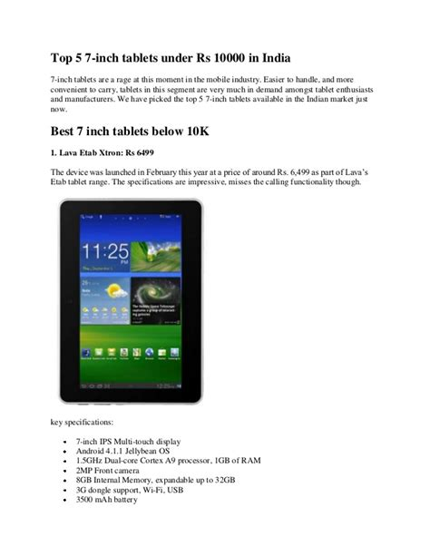 best 7 inch tablet on the market top 5 7 inch tablets rs 10000 in india
