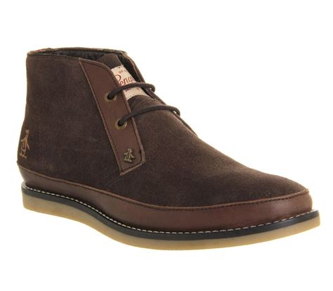 penguin boots original penguin lodge chukka boots in brown for lyst