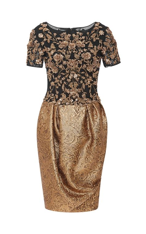 Sabb Brocade Dress marchesa embroidered sleeve cocktail dress with metallic brocade skirt in metallic lyst