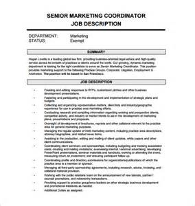 Marketing Coordinator Description Sles by Marketing Coordinator Description Template 13 Free Word Pdf Format Free
