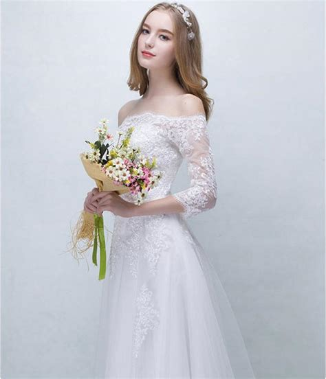discount simple lace wedding dress on christmas 3 4 sleeve