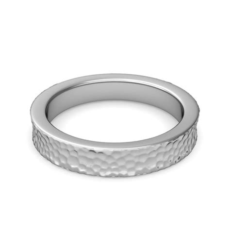 4mm comfort fit hammered wedding band in platinum band