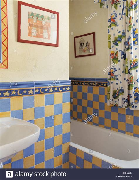 yellow and blue bathroom yellow and blue wall tiles in small spanish country