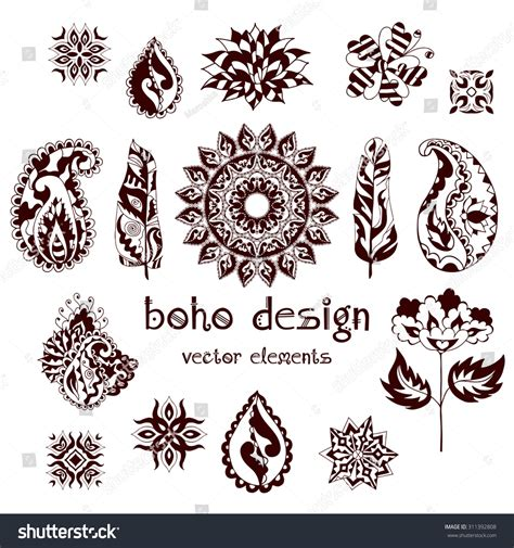 feathers mehndi style vector designs set vector henna set ornamental boho style elements feathers stock vector