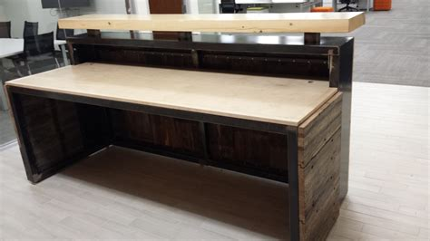 modern rustic executive reception desk crafted from