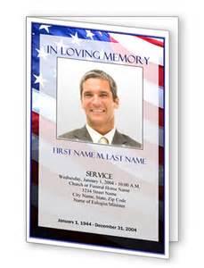 Patriotic us bifold funeral program template