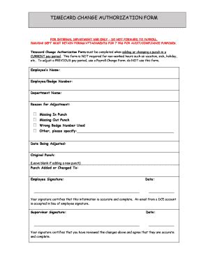 time card adjustment form template time card change form fill printable fillable