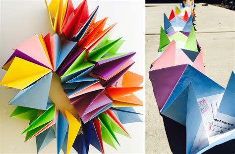 Make An Origami Book - directions for an origami accordion book in the