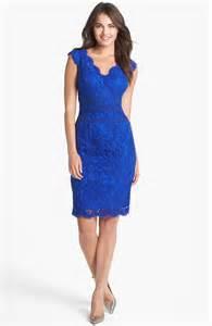 tadashi shoji lace tulle sheath dress in blue marina lyst