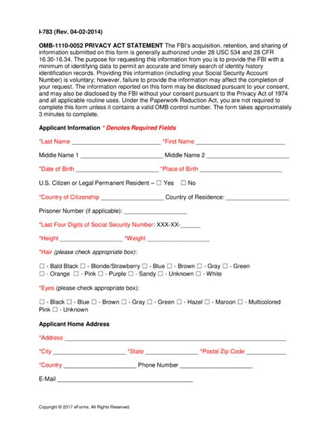 Fbi Background Check Free Fbi Criminal Background Check Form Pdf Eforms