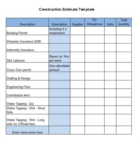 estimate building a house construction estimate template free download here