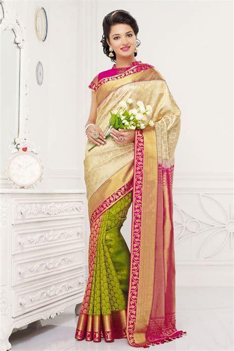 Off white colour Indian pure Kanjivaram silk Saree with