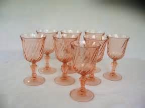 Antique Looking Vases New England Treasure Seekers Set Of Pink Swirl Wine Glasses