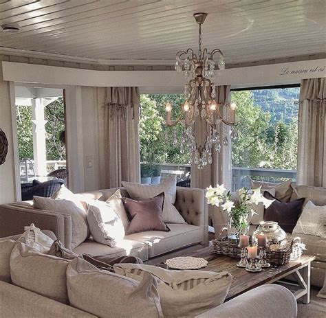 shabby chic living room with brown sofa