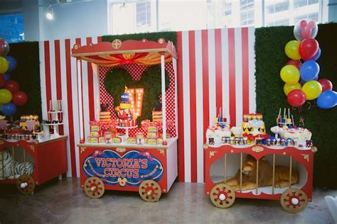 Kara's Party Ideas Circus Train Tables from a Mickey Mouse Circus Birthday Party via Kara's