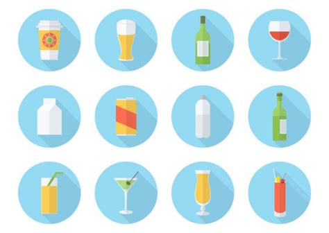 flat design icon vector set of drink icons in flat design vector free download