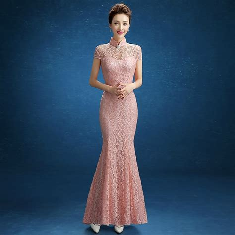 Dress Of The Day Golden Lace Qi Pao by Pink Fishtail Lace Clothing Store Violet
