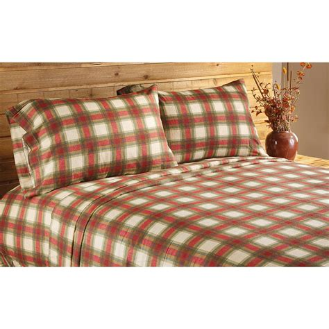 concord plaid flannel sheet set 168714 sheets at sportsman s guide