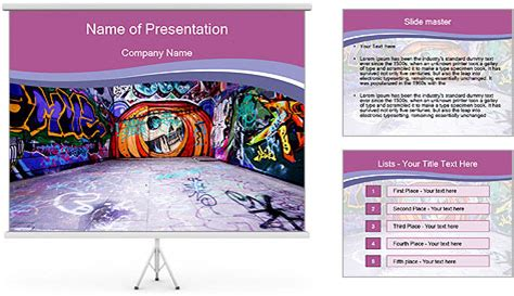 artistic graffiti walls powerpoint template backgrounds