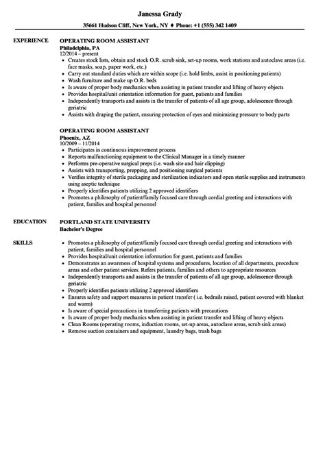 Operating Room Resume by Operating Room Assistant Resume Sles Velvet