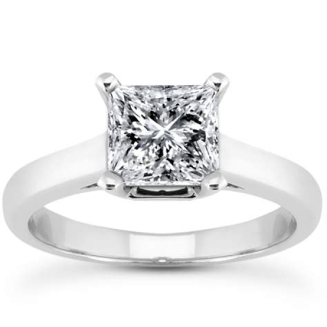 princess cut solitaire engagement ring in