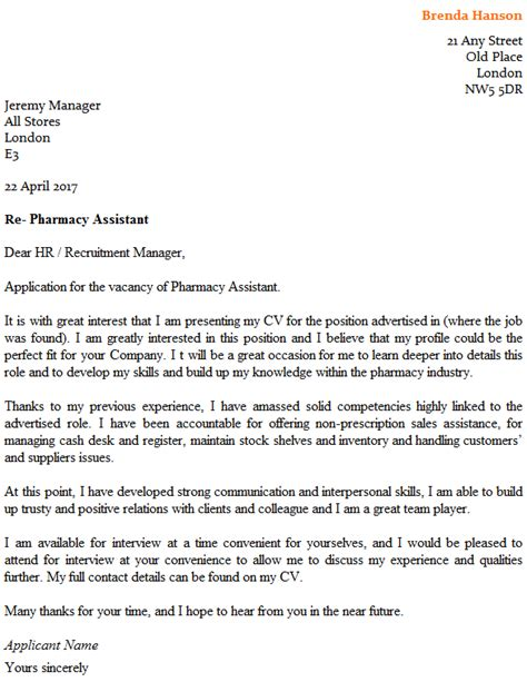pharmacy assistant cover letter exle icover org uk