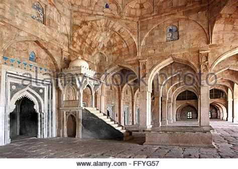 Interior Jam Masjid interior with ornate pillars and ceilings in the marble temple stock photo royalty free