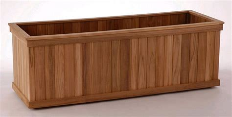 big rectangular teak planter boxes