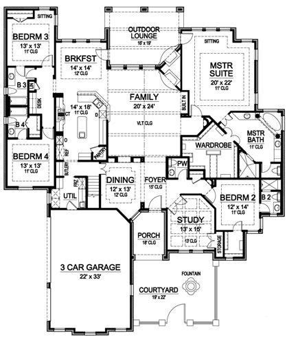 Single Story House Plans With Bonus Room by Plan 36226tx One Story Luxury With Bonus Room Above