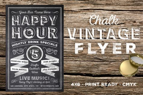 happy hour sign template chalk vintage happy hour flyer flyer templates on