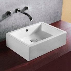 White Vessel Bathroom Sink Nameeks Ceramica 6 7 8 In D White Porcelain Rectangular