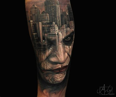 Joker Gotham Tattoo Video | surreal and mesmerizing double exposure tattoos scene360