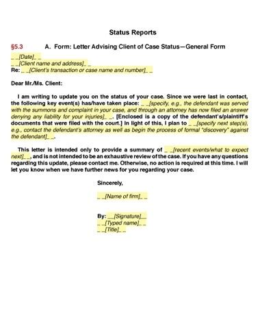 Customer Update Letter california client communications manual sle letters
