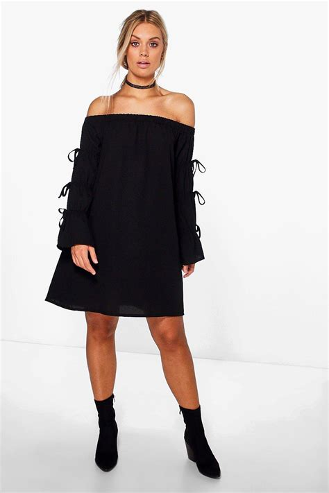 Yasmine Dress Black Boohoo Plus Yasmin The Shoulder Dress In Black Lyst