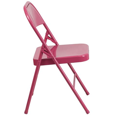 Folding Chairs 4 Less by Hercules Colorburst Series Shockingly Fuchsia